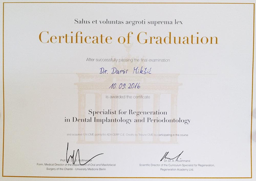 dr. Damir Mikšić - diploma